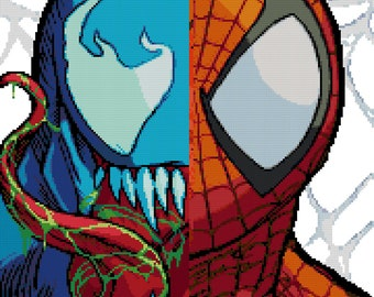 Spider-Man Vs Venom Cross Stitch Pattern