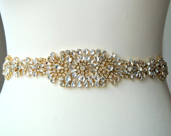 "30"" Gold Crystal Luxury Bridal Sash,Wedding Dress Sash Belt,Bridal Bridesmaid Sash Belt, Wedding dress sash Silver"