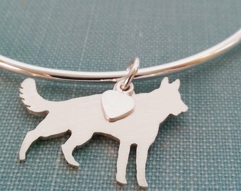 German Shepherd Dog Bangle Bracelet, Sterling Silver Personalize Pendant, Breed Silhouette Charm, Rescue Shelter, Memory Gift