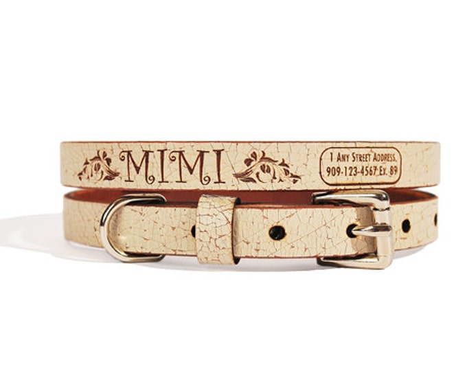 Personalized Leather ID Dog Collar, Small Size, Princess Design, Name & Contact Info Engraved FREE