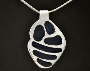 Silver Necklace with Cold Enamel One of a Kind, Unique Sterling Silver Pendant with Midnight Blue Sapphire Accent