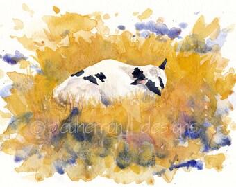 watercolor animals- Windsor- newborn dairy cow art print