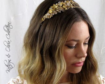 Bridal Tiara Crown Headpiece Gold Crystal and Rhinestone Vintage Crystal Gold Lucite Flowers Antique Gold ColorHP-15