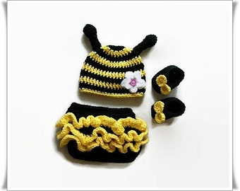 Newborn baby girl, Baby bumble bee, Crochet baby clothes, Baby costume bee, Unique baby gifts, Newborn photo prop, Baby shower gift