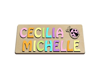 Splash of Spring Personalized Wooden Name Puzzle With Two Names With A Ladybug id275296858