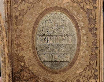 1859 The Poetry of Flowers hardcover book, severe cover damage, beautiful front and back covers