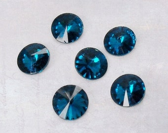 20 x Blue Zircon Faceted 8mm Glass Pointback Rhinestones Rivoli Chaton Back Plated SS38