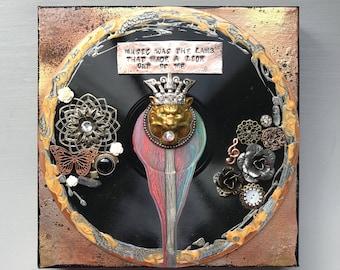Mounted Vinyl Record, Music Inspired, Wall Decor, OOAK, Esthero, Lyric Art, Swallow Me Lyric, Mixed Media / Assemblage