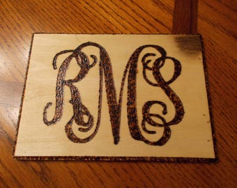 Monogram Wood burning-Customized with your initials-Hand Made by Artist ! L@@k!!