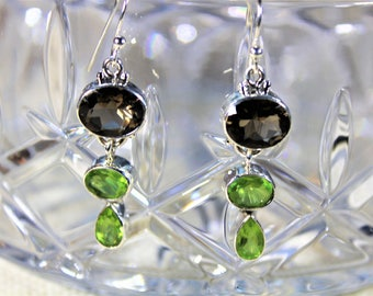 Smokey topaz earrings, dangle earrings, peridot earrings, 925 Sterling silver earrings, drop earrings, green brown earrings