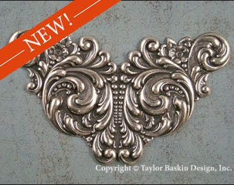 Antiqued Sterling Silver Plated Large Victorian Steampunk Art Nouveau Floral Component (item 1003 AS) - 1 Piece
