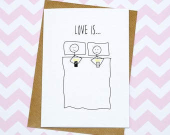 Funny Valentines Day Card - Anniversary Card - Lying In Bed Looking At Phones