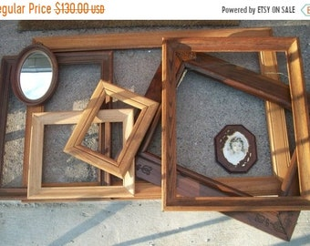 Memorial Day SALE Rustic frame set of 8, large wood & resin vintage frames, Wedding decor, ombré brown earthtones, open gallery photo prop,