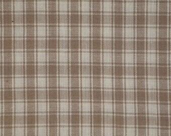Plaid Cotton Homespun Fabric | Plaid Fabric | Cotton Rag Quilt Fabric | Home Decor Fabric | Craft Fabric | Taupe Plaid Fabric