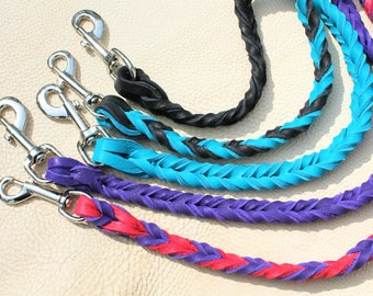 Braided Bullhide lead, 4' long, leather, handmade leash