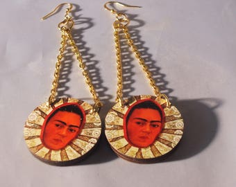 frida kahlo statement handmade earrings woodcut with vintage parts , wooden,lasercut