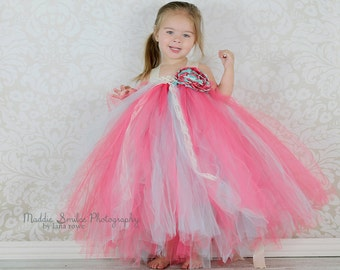 The Madison -Vintage Aqua and Coral Flower Girl Tutu Dress with Satin singed rose and lace accent