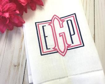 Monogram Linen Hemstitch Guest Towel. Powder Room Decor. Bar Cart. Hostess Gift. Wedding Gift. Embroidered Linens.