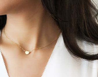 Personalized Heart Necklace, Dainty heart choker necklace, Initial  Heart choker in Gold, Silver or Rose gold, Mothers necklace, BL2441