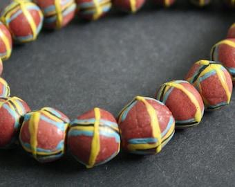 King Beads, African Bi-Cones, Krobo Ghana Recycled Glass, 13-15 mm Handmade 10-Pack, Red