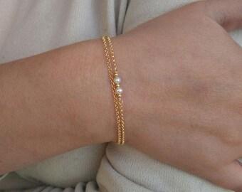 Set silver bracelet with Pearls, Minimalist bracelets, Dainty Bracelets.