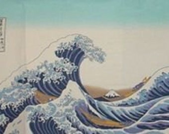 Japanese Gift The Wave by Hokusai Tenugui Cotton Fabric w/Free Insured Shipping
