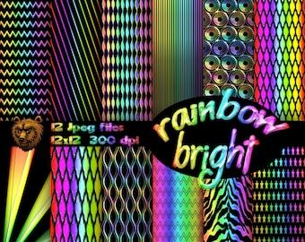Rainbow digital paper, digital download, instant download, background, scrpabook, scrapbooking