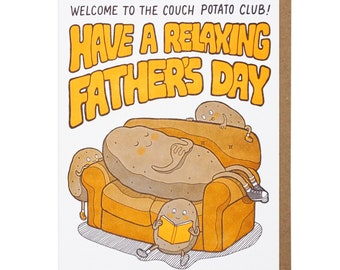 Couch Potato Father's Day Letterpress Card