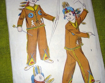 1940s Child Native American Costume and Headdress  / Vintage Sewing Pattern / Advance 705 /  Buckskin Costume / Theater / Davy Crockett