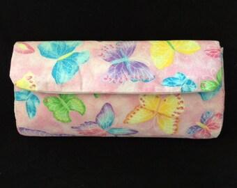 Pink Glitter Butterfly Clutch