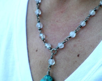 Antique Rock Crystal Sterling Silver Turquoise One of a Kind Necklace