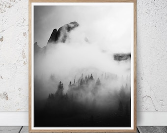 mountain print, mountain wall art, foggy mountain poster, forest wall decor, black and white photography, minimal decor, Scandinavian style