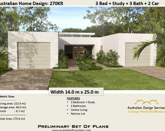 270KR | 4 Bed or 3 Bed + Study + 3 Bathrooms + 2 Car Garage - Concept house plans For Sale |  270.0 m2
