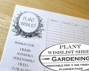 Plant Wishlist Chart - Printable Garden Planner Page for Garden Journals