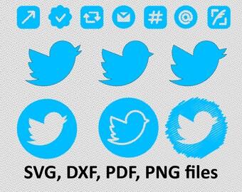 Twitter SVG/ Social media DXF/ Social media Clipart/ Svg Files, instagram logo, facebook logo, twitter logo, icon, follow cutting tweet
