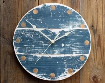 "Wall Clock Wooden Driftwood Beach Hut Dark Blue and White (Round 10"" Diameter)"