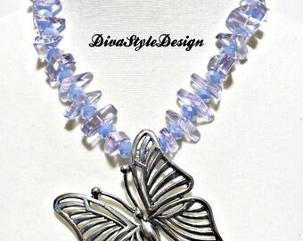 Butterfly Statement Necklace, Blue Butterfly Necklace, GPD Blue Butterfly Necklace Set, Blue Statement Necklace