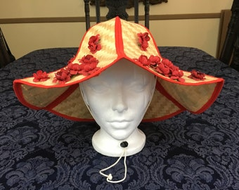 Super Fun Vintage Womans Woven Straw Gardening Hat with Red Flowers Millinery and Chin Strap H52