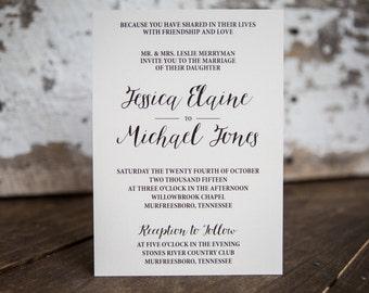 Calligraphy Wedding Invitation, Formal Invitation - Classic Wedding Suite : A7 Wedding Invitations