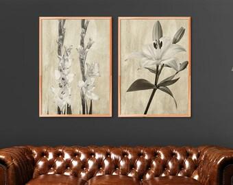 Botanical Print Set, Bedroom Print Set, Sepia Floral Prints, Set of 2 Prints, Sepia Photography, Flower Prints, Floral Collection of Prints