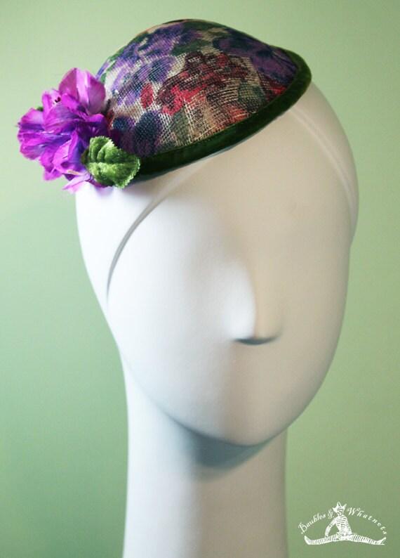 Flowered Fascinator - Purple & Red Flowers - Silk Flowers - OOAK