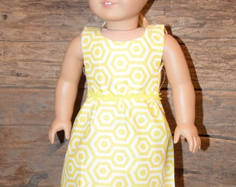 "18"" Doll Dress -Yellow Quatrefoil/Geometric Design - fits 18"" American Girl Doll"