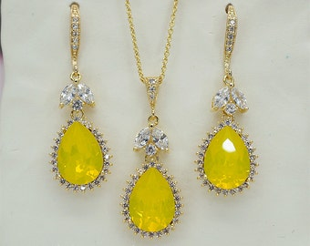 Yellow Opal Jewelry Set, Bridesmaid Jewelry Set, Bridesmaids  Necklace and Earrings Set, Light Yellow Wedding Jewelry Set, Bridesmaids Gift,