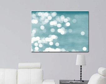 Large abstract canvas art, abstract photography bokeh light sparkles, teal and white gallery wrap, beach abstract art turquoise wall decor