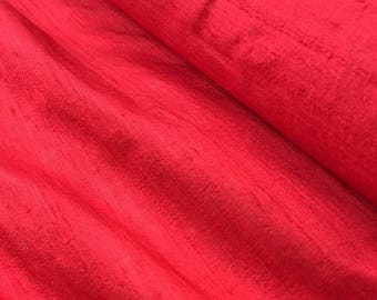 Pure silk dupion fabric, red