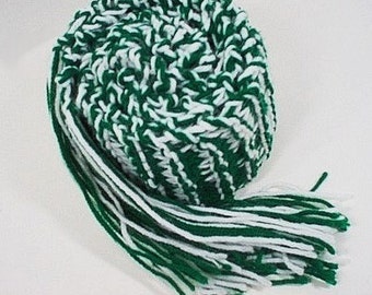 Hand Knit Scarf College Kelly Green and White
