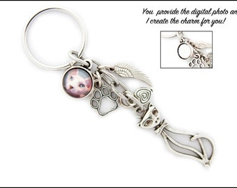 Pet Cat Memorial Gift Jewelry Keyring Keychain Jewelry Custom Photo Charm Paw Print Bereavement Loss Gift Unique Pet Loss Gift