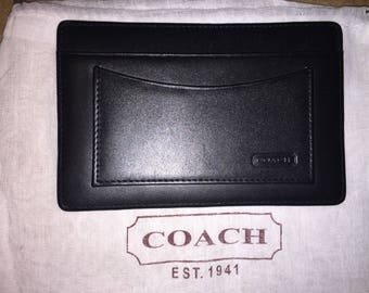 COACH VINTAGE 5.5 x 3.5 Black Leather Card Case Wallet W/Dust Bag