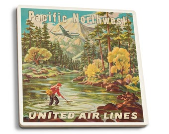 USA United Air Lines Pacific Northwest Vintage Ad (Set of 4 Ceramic Coasters)