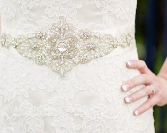 Diamante and Pearl Bridal Belt Sash